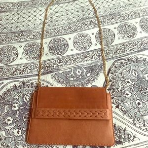 Brown leather crossbody purse